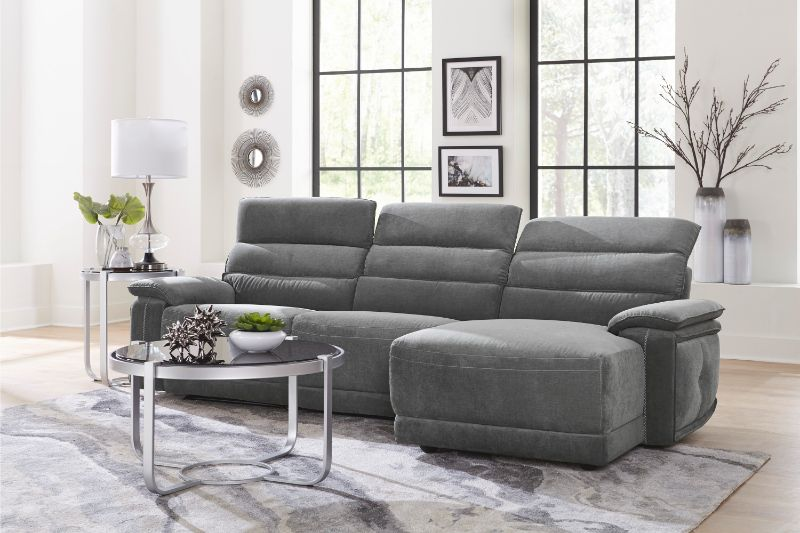 HE-9512DG-3PC 3 pc Ember dark gray fabric sectional sofa with .