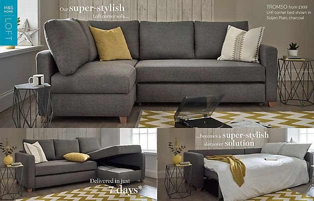 Tromso Corner Sofa Bed (Left-Hand) | Sofas for small spaces .