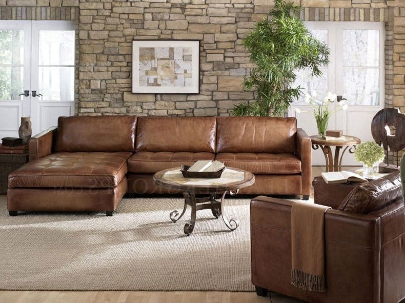 Furniture: Small Leather Sectional Sofa Design With Brown Leather .