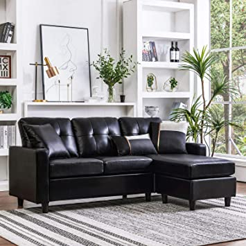 Amazon.com: HONBAY Convertible Sectional Sofa Couch Leather L .