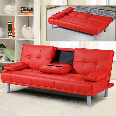 Modern Small 2-3 Seater Faux Leather Sofa Bed & Bluetooth Speaker .
