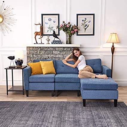 Amazon.com: Chrome Studded Blended Fabric Reversible Sectional .