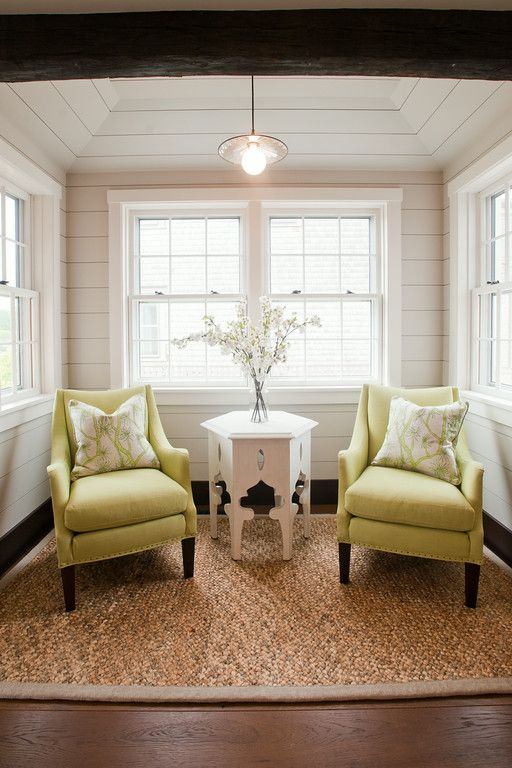 Small sitting area off the kitchen. We used lime green upholstered .