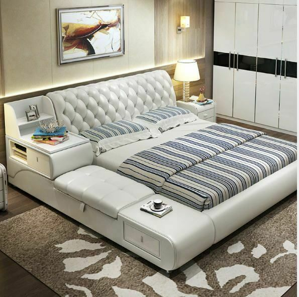 Leather Sofa Bed For Bedroom Minimalist Modern Soft Furniture With .