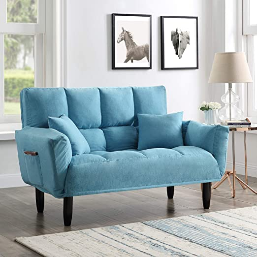 Amazon.com: EiioX Convertible Sofa Bed with Pillows Upholstered .