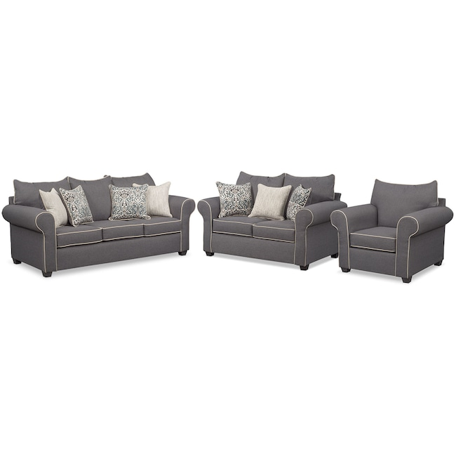 Carla Queen Sleeper Sofa, Loveseat, and Chair Set | Value City .