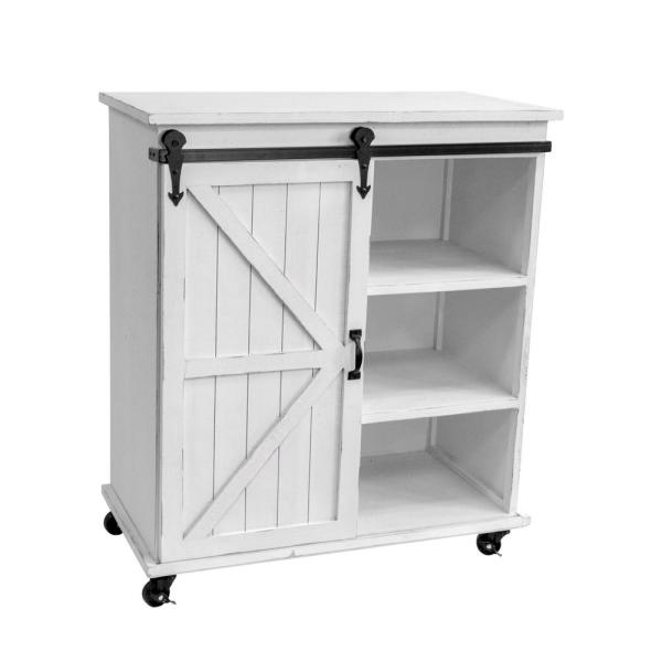 OS Home and Office Furniture Distressed Antique White Sliding Barn .