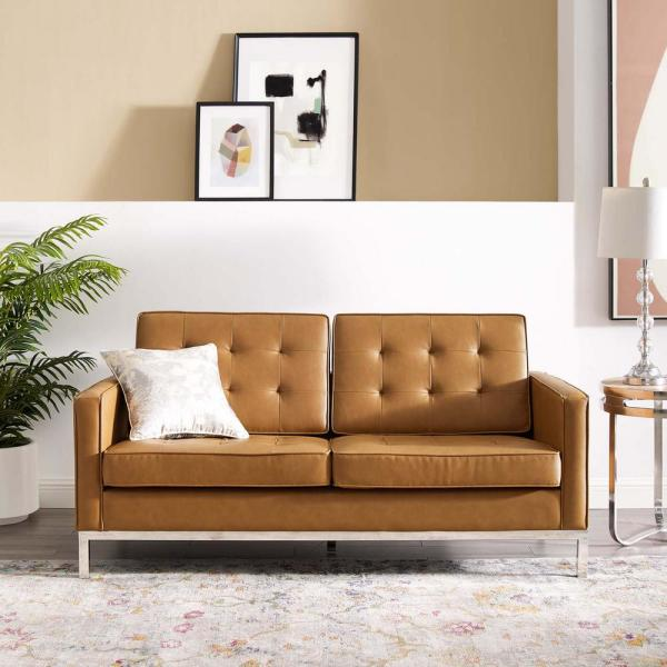 MODWAY Loft Tufted Silver Tan Upholstered Faux Leather Loveseat .