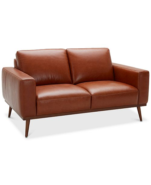 """Furniture CLOSEOUT! Marsilla 63"""" Leather Loveseat, Created for ."""