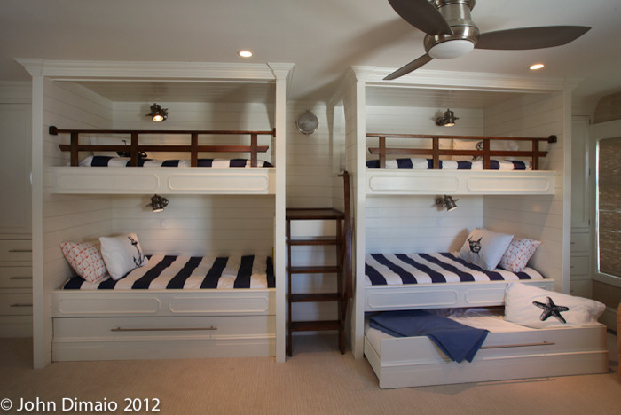 Splashy trundle beds in Kids Traditional with Nautical Railing .