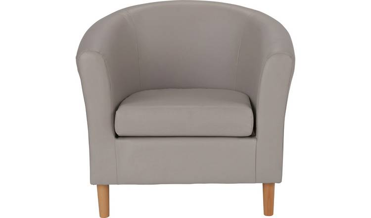 Buy Argos Home Faux Leather Tub Chair - Mocha | Armchairs and .