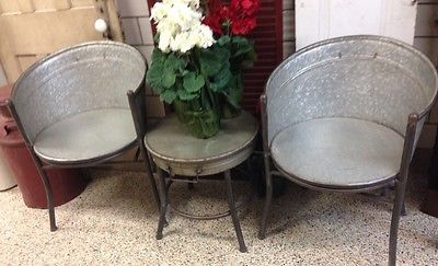 Vintage primitive Style Galvanized Tub Chairs And Round Table .