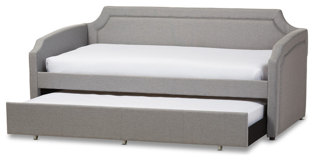 Parkson Linen Curved Notched Corners Sofa Twin Daybed With Trundle .