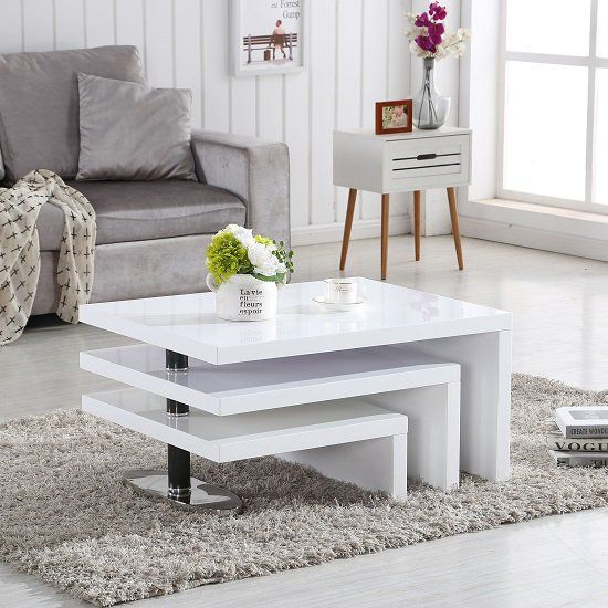 Design Coffee Table Rotating In White High Gloss With 3 Tops .