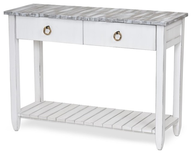 Picket Fence Console Table, Distressed Gray/White - Beach Style .