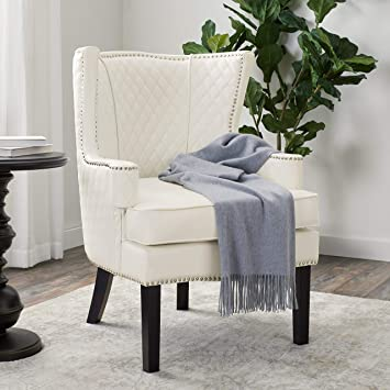 White Leather Armchairs