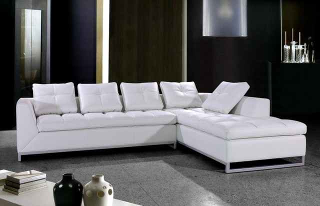 White Leather Sectional Sofa with Chrome Legs - Modern - Living .