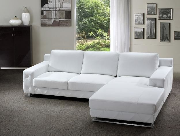 Modern Sectional Sofa in White Leather - Modern - Living Room .
