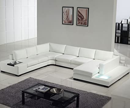 Amazon.com: T35 - White Bonded Leather Sectional Sofa Set with .