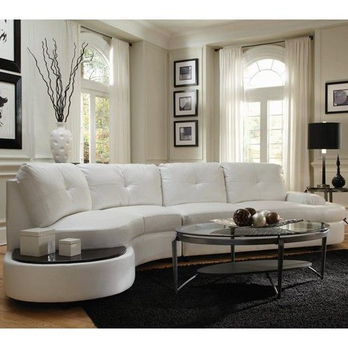 white curved sofa, modern sectional,white leather sofa   Living .