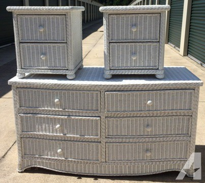 White Wicker Bedroom Furniture: Dresser and 2 nightstands ( for .