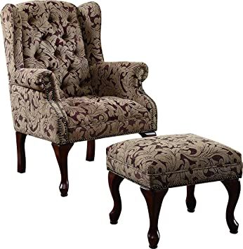 Amazon.com: Tufted Wing Back Chair and Ottoman Brown: Kitchen & Dini