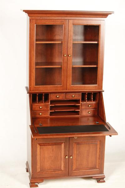 Glenmont Solid Wood Secretary Desk With Hutch Top From DutchCrafte