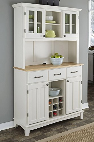 Amazon.com: Buffet of Buffets White with Natural Wood Top with .
