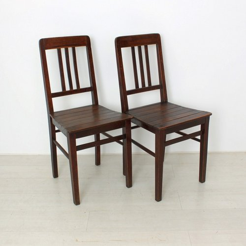 Vintage Wooden Chairs, 1920s, Set of 2 for sale at Pamo