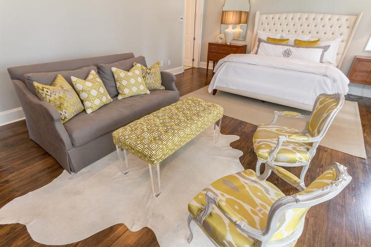 Gray Sofa with Yellow Chairs - Transitional - Bedro