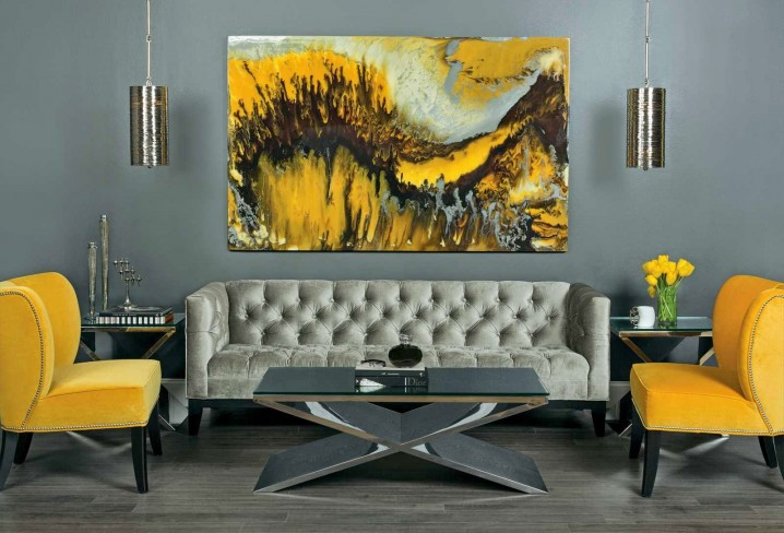 41 Stylish Grey And Yellow Living Room Décor Ide