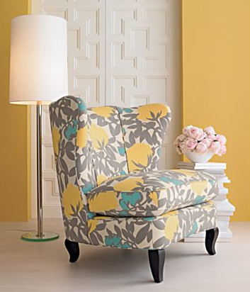 Yellow turquoise accent chair -- great color combo. I'm starting .