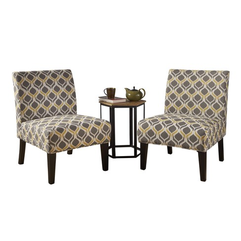Set Of 2 Kassi Accent Chair Yellow/Gray - Christopher Knight Home .