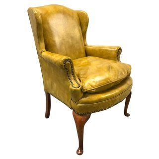 1970s Brilliant Yellow Leather Wingback Chair | Chair, Leather .