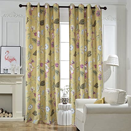 Amazon.com: Flower Yellow Curtains For Bedroom - Anady Top 2 Panel .