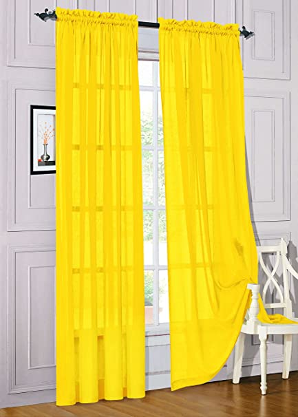 Amazon.com: Gorgeous Home 1PC BRIGHT YELLOW SOLID SOFT VOILE SHEER .