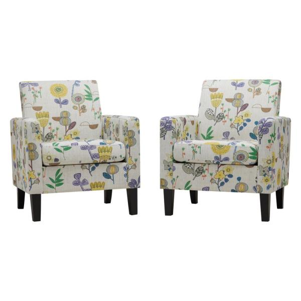 Handy Living Yellow Whimsy Floral Joleen Track Arm Upholstered .