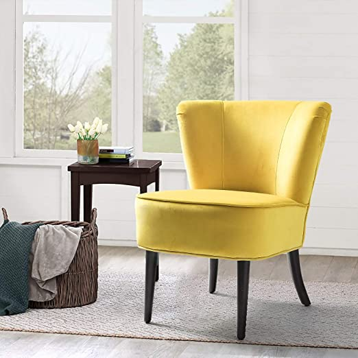 Amazon.com: Yellow Upholstered Velvet Accent Chair/Emille Armless .