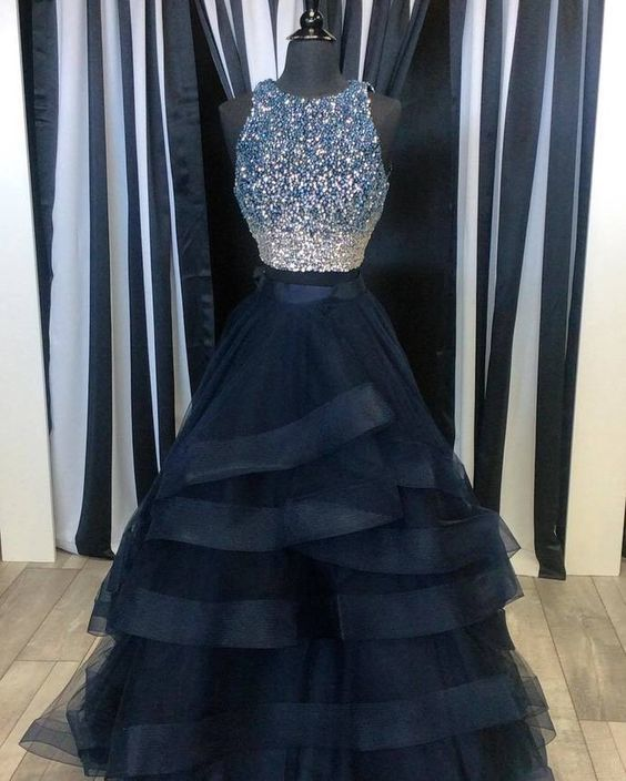 Two Pieces Ball Gown Prom Dress, Handmade | Cocopromdre