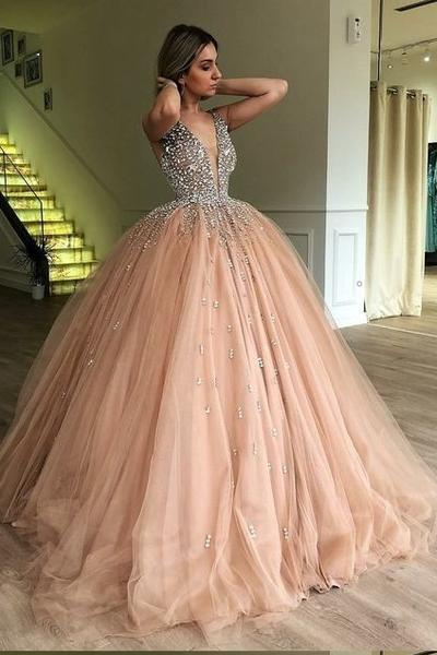 Rhinestones Champagne Ball Gown Prom Dress with Deep V-neckline .