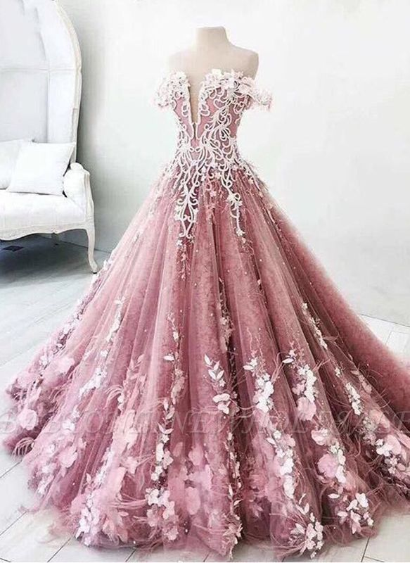 Fairytale Floral Puffy Prom Dresses | Off-The-Shoulder Lace .