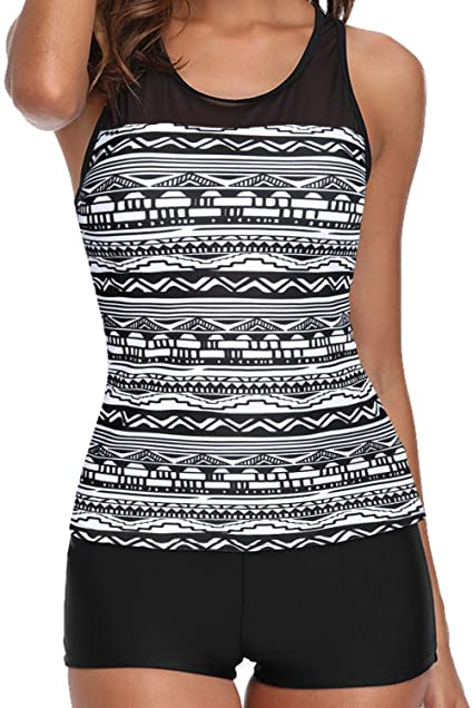 Yonique Tankini Swimsuits for Women with Shorts Athletic Two Piece .