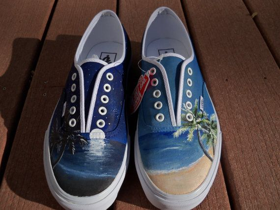 Custom Painted Beach Shoes | Canvas shoes diy, Painted shoes, Hand .