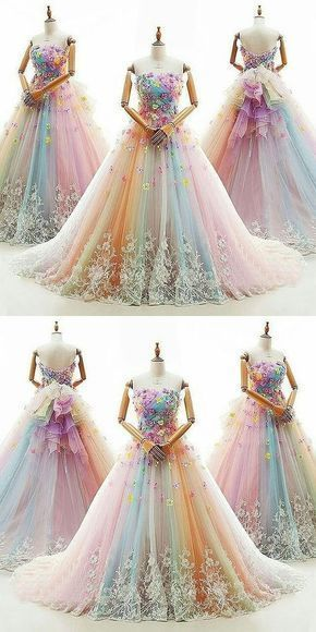 Ball Gown Prom Dresses Colorful Sweep/Brush Train | Cher