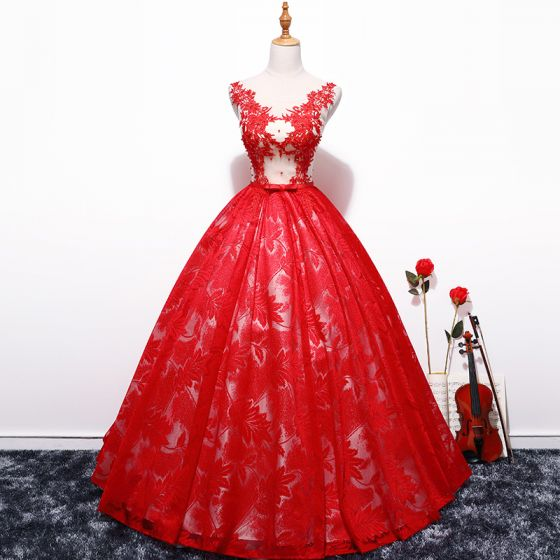 Chic / Beautiful Red Prom Dresses 2018 Ball Gown Tulle V-Neck .