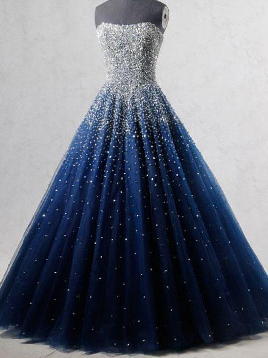 Sparkly Prom Dresses Strapless Dark Navy Sequins Long Beautiful .