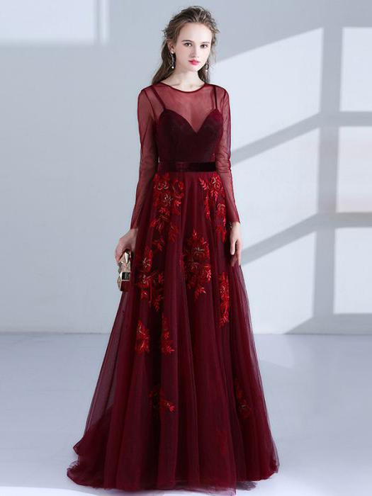 Chic Burgundy Prom Dresses Long A line Scoop Applique Beautiful .