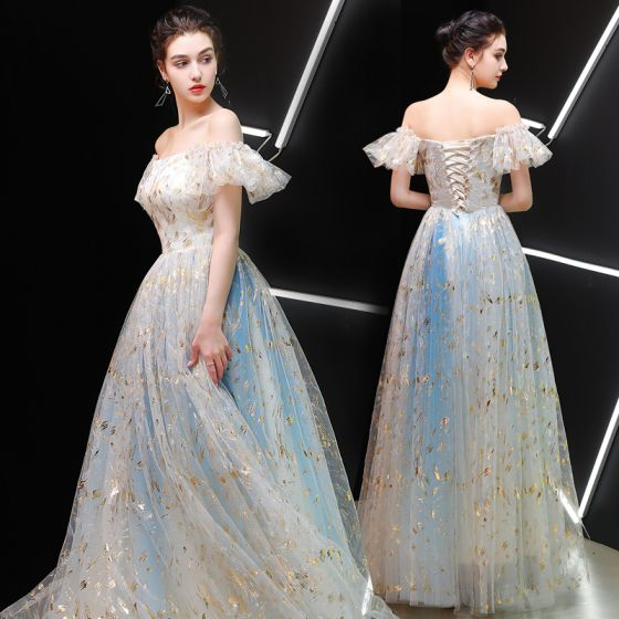 Best Champagne Prom Dresses 2019 A-Line / Princess Off-The .
