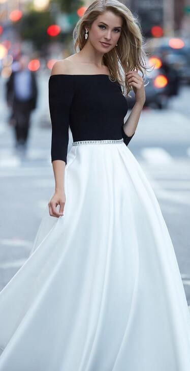 black and white long prom dress, off the shoulder half sleeves .