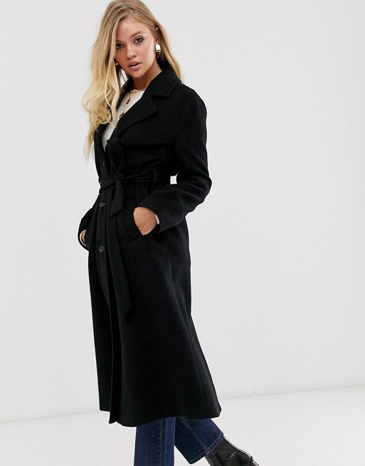 & Other Stories long belted coat in black | AS